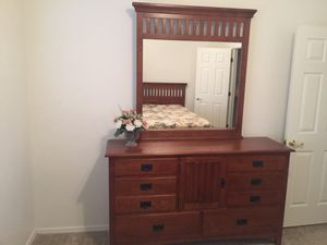 Queen bed frame, one nightstand, and dresser with mirror for Sale in Mesa, AZ