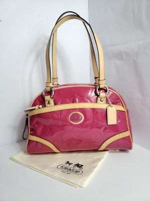 Like New Authentic Coach Handbag Peyton Embossed Patent Leather Satchel Magenta Pink & Tan PRICE FIRM 🚫 for Sale in San Antonio, TX