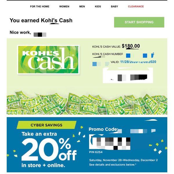 Kohl's Cash $180 Valid 11/28-12/09