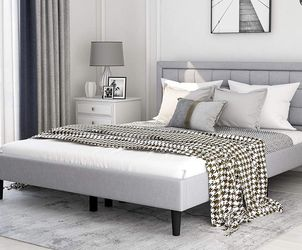 New In A Box Queen Size Platform Bed Frame Grey$170 Or $370 With Gel Memory Foam Mattress for Sale in Columbus,  OH