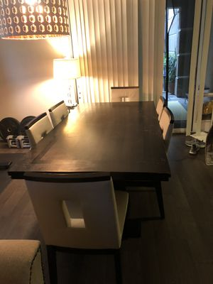 Black Wood Modern Table with 6 chairs (worn) and an extended piece for Sale in Irvine, CA
