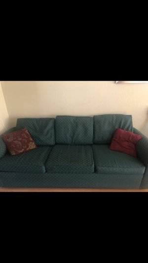 Green, couch, sofa, furniture, comes with pillows, red for Sale in Oakland, CA