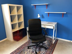 IKEA Desk (MICKE) Set with shelves, Bookshelf, and a chair for Sale in Renton, WA