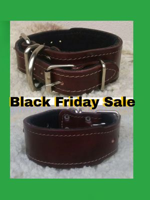 New Super Secure Double buckle Collar 100% Real Leather for Sale in Azusa, CA