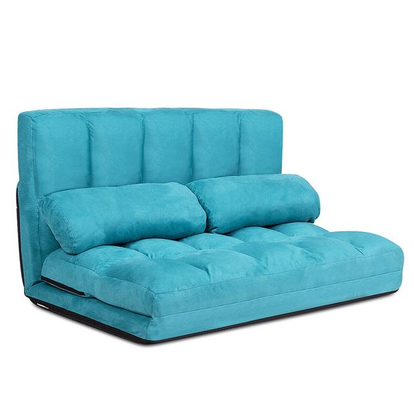 Foldable Floor Sofa Bed 6-Position Adjustable Lounge Couch with 2 Pillows