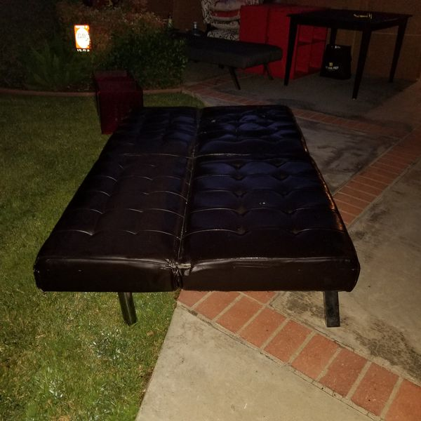 Black Synthetic Leather Futon