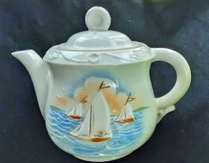 Porecelier art deco kitchenware sailing ships or boats nautical themed teapot ! for Sale in Saginaw, MI