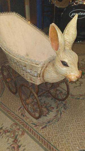 Vintage wicker doll carriage rabbit for Sale in Tacoma, WA
