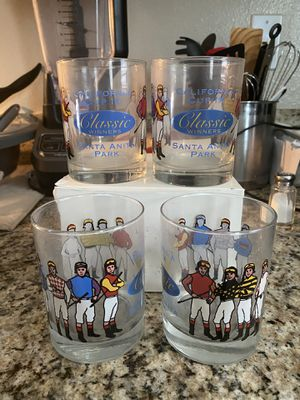 (4) Santa Anita Park Horse Racing California Cup IX Classic Winners Bar Glasses for Sale in Fontana, CA