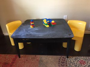 Kids table and chairs. - chailkboard top for Sale in Keller, TX