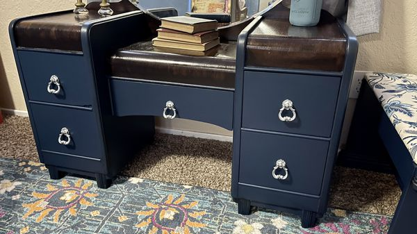 Refinished Vintage Navy Waterfall Vanity / Dresser w/Mirror
