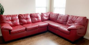 Red Leather Couch Sectional for Sale in Columbus, OH
