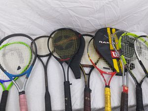 Lot of 9 Tennis Rackets Spalding Cowhide Grip Wilson Slazenger Head Racquets for Sale in Cleveland, OH