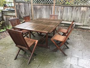 Teak Patio Table and 6 Chairs for Sale in Tacoma, WA