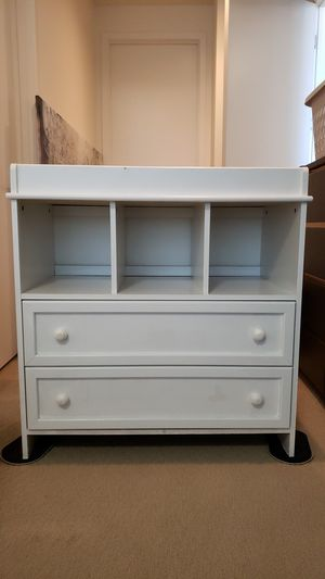 White wooden changing table with drawers for Sale in Los Angeles, CA