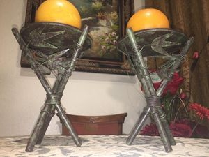 Set of Two Metal art candle holders, H9.5xW7 inch for Sale in Chandler, AZ
