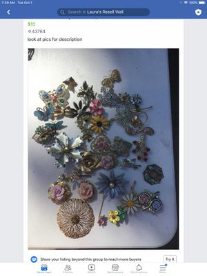 Flower and butterfly brooches pins for Sale in OH, US