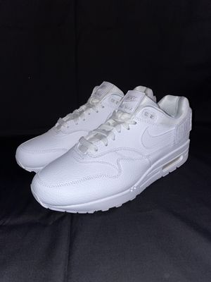 Womens Nike Air Max 1-100 Triple White Patches Leather Shoes AQ7826-100 Size 10 for Sale in San Jacinto, CA