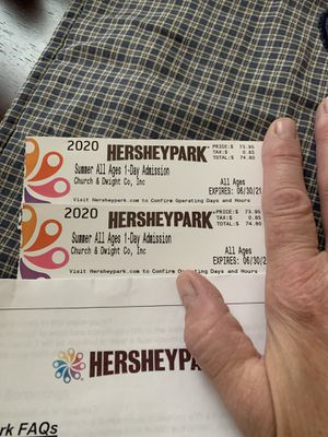 2 Hershey Park tickets for Sale in Dillsburg, PA