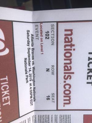 Washington National vs Atlanta Braves September 14,2019 for Sale in Newport News, VA
