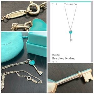 Tiffany & Co. heart key enamel necklace AND pendant for Sale in Arlington, TX