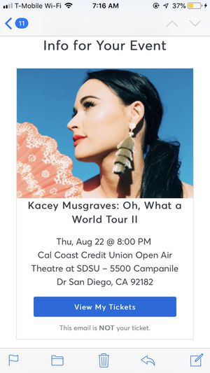 Kacey Musgraves Concert Ticket for Sale in Santee, CA