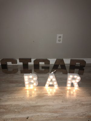 Cigar bar lettering solid wood for Sale in Maple Shade Township, NJ