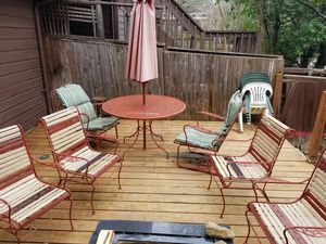 Outdoor / Patio furniture set - tables, chairs, pie rack & umbrella for Sale in Dallas, TX