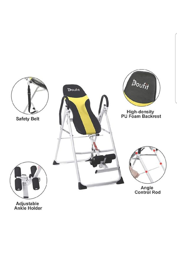 Doufit Inversion Table for Back Pain Relief, Gravity Table for Workout at Home