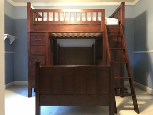 Pottery Barn Kids Camp Bunk Bed Dresser Chair Set Espresso Brown Finish for Sale in Batsto, NJ
