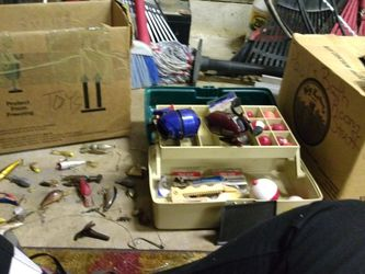 . Fishing Reels Box Lures Bobbers Multi-fishing Tool Sinkers Hooks for Sale in Arlington,  TX