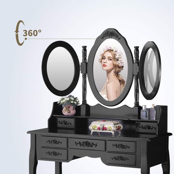 Vanity Makeup Dressing Table Set 3 Mirrors and 7 Drawers with Cushion Bench Stool