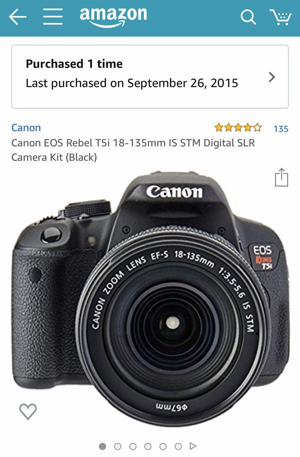 Canon EOS Rebel T5i 18-135mm IS STM Digital SLR Camera Kit with camera bag and quick grip