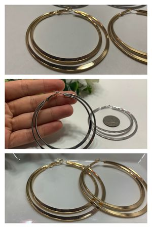Exaggerated Large Smooth Circle Double Hoop Earring, Silver Color for Sale in Tustin, CA
