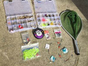 Fishing supplies net, tackle, boat chair for Sale in Hampton, VA