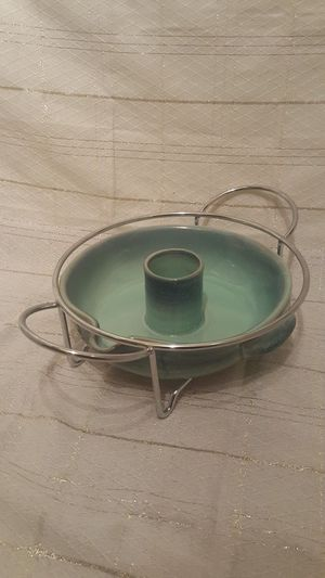 Ceramic Drip Glaze Chip and Dip Server with Metal Stand/ Trivet *Priced to Sell!* for Sale in Phoenix, AZ