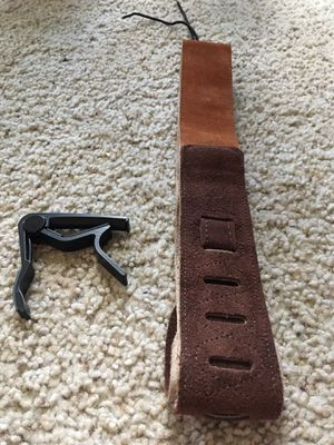Brown Suade Leather Guitar Strap and Black Capo for Gitar Neck - Brand New!! for Sale in Denver, CO