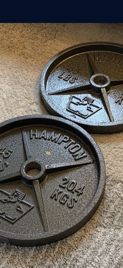 2x 45lb Olympic Plates (NEW!) for Sale in Portland,  OR