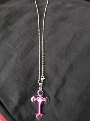 Necklace in stainless steel cross pendant size 10 inches for Sale in Moreno Valley, CA