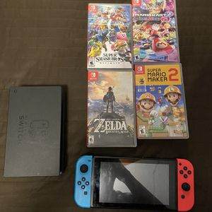 nintendo Switch With 4 Games for Sale in Huntington Park, CA