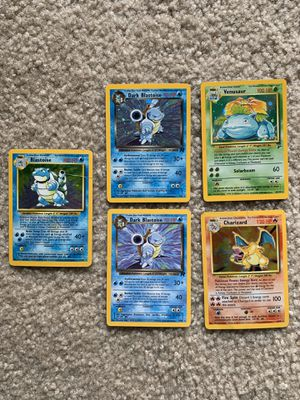 Best of the best (blastoise and charizard damaged from childhood flood) good deal for an old gem! $150 for all 5 OBO! for Sale in Arlington, VA