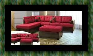 Red sectional with ottoman for Sale in Oxon Hill, MD