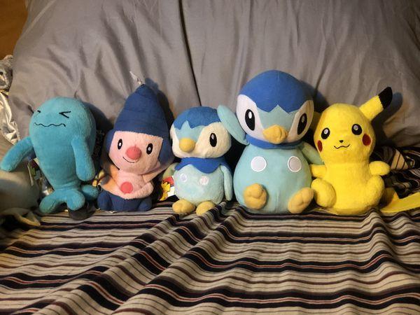 Pokemon Plush Lot Of 5 Pikachu Wobbuffet Mime Jr. Piplup