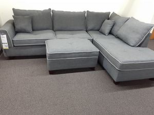 New Grey Sectional Sofa With Ottoman for Sale in City of Industry, CA