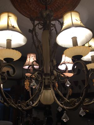 Chandelier 6 lights brown metal with light beige silk shades works good for Sale in SEATTLE, WA