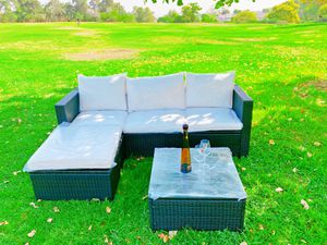 Brand new!Assembled!5PCS Outdoor Patio Rattan Furniture Set Sectional Conversation Beige Cushion for Sale in Hacienda Heights, CA