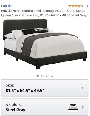 Steel gray upholstered Queen Bed Frame for Sale in Decatur, GA