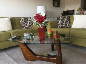 Sofa. Love seat. Coffee table. Two lamp tables. And six matching pillows. for Sale in Springfield, VA