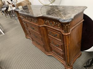 Cherry wood dresser with real marble top. Chipped on the side . Retails for $1499 for Sale in Alexandria, VA