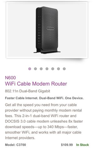 WiFi cable modem router NETGEAR N600 for Sale in VA, US